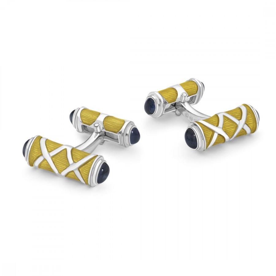Sterling Silver Yellow Cross Hatch Design Cufflinks with Sapphire