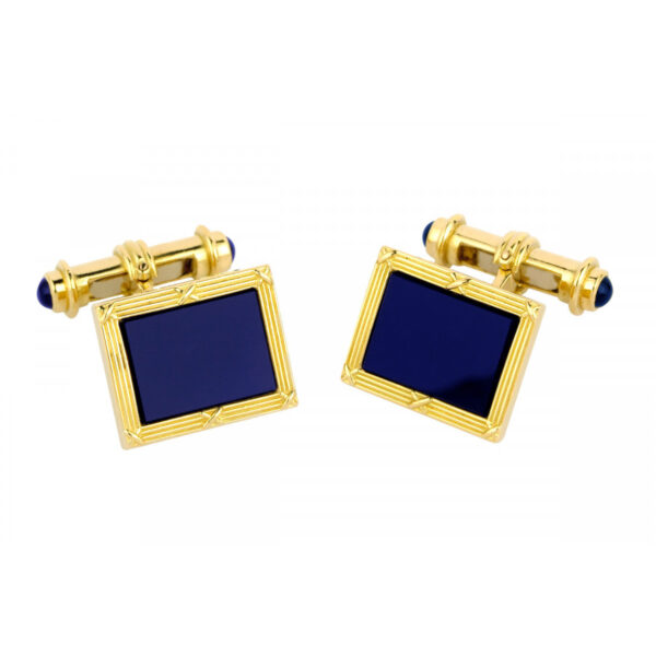 18ct Yellow Gold Oblong Cufflinks with Lapis Lazuli