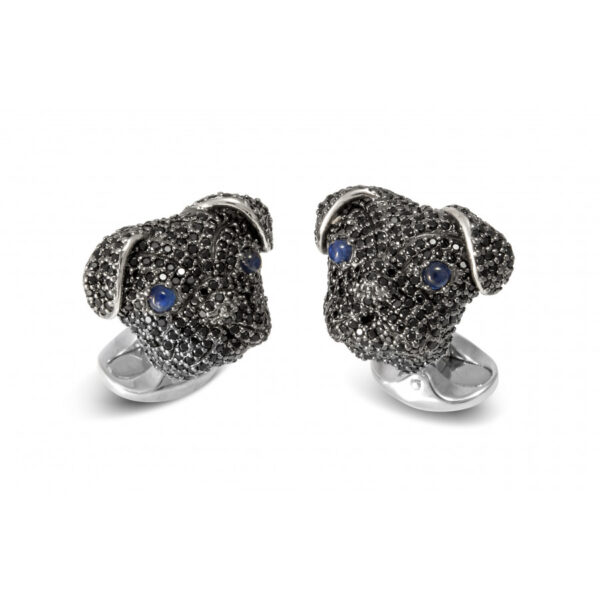 Sterling Silver Black Spinel Pug Cufflinks