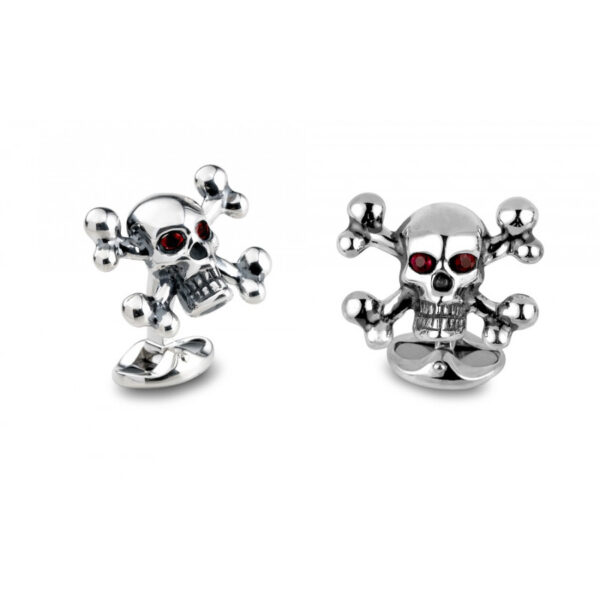 Sterling Silver Skull and Cross Bones with Ruby Eyes
