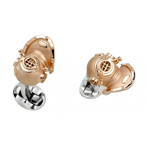 Sterling Silver Diving Helmet Cufflinks- Rose Gold Finish