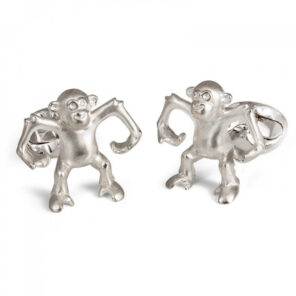 Sterling Silver 'Henry' Dancing Monkey Cufflinks