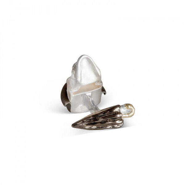 Sterling Silver Skull Cufflinks with Bowler Hat and Umbrella