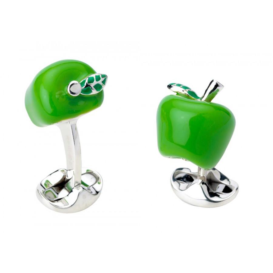 Sterling Silver Green Apple Cufflinks