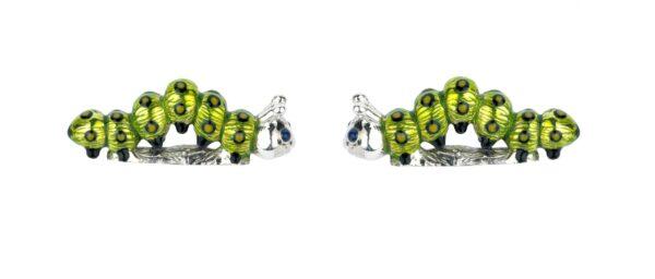 Sterling Silver Green Enamel Caterpillar Cufflinks