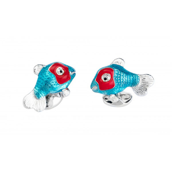 Sterling Silver Blue and Red Tropical Fish Cufflinks