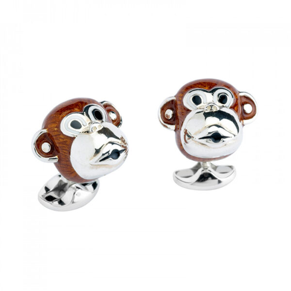 Sterling Silver Brown Monkey Head Cufflinks