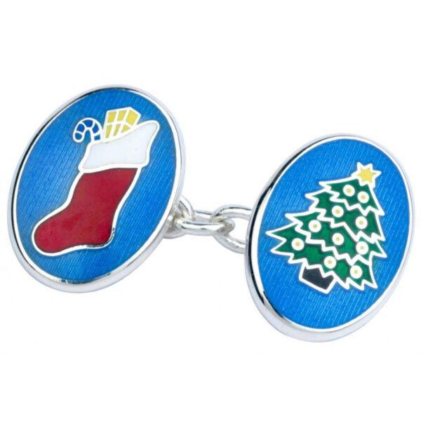 Sterling Silver Christmas Enamelled Cufflinks