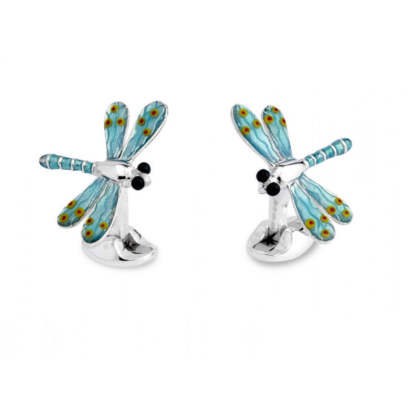 Sterling Silver Blue Dragonfly Cufflinks