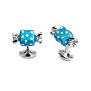 Sterling Silver Blue Square Sweet Cufflinks with White Polkadots