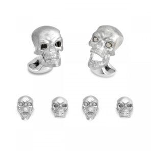 Sterling Silver Skull Dress Stud Set with Diamond Eyes
