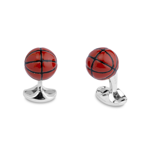 Sterling Silver Enamel Basketball Cufflinks