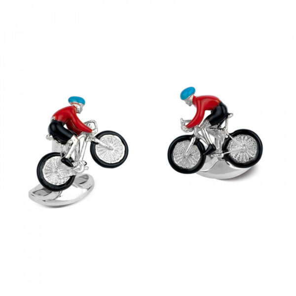 Sterling Silver Bike and Rider Cufflinks with Blue and Red Enamel Detailing