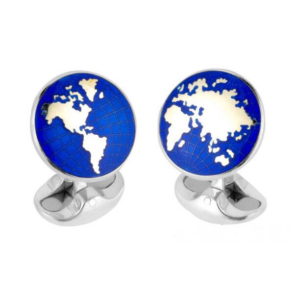 Sterling Silver Enamel World Cufflinks