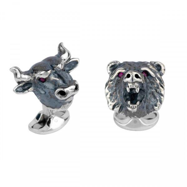 Sterling Silver Bull & Bear Cufflinks with Ruby Eyes