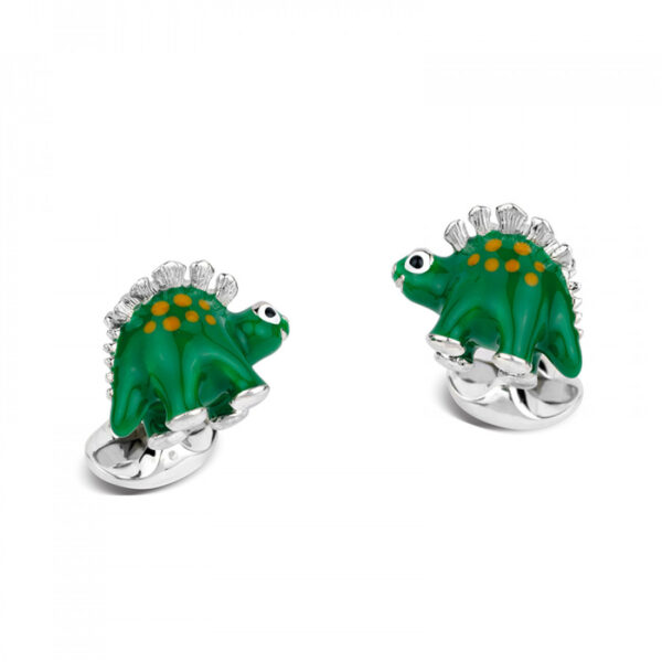 Sterling Silver Green Dinosaur Cufflinks