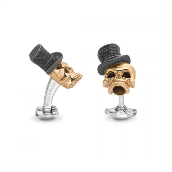 Rose Gold Plated Skull Cufflinks with Black Spinel Top Hats