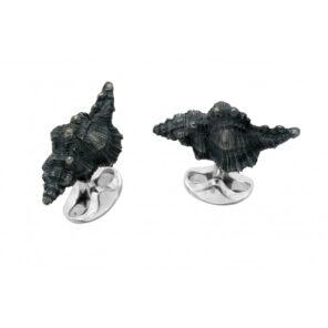 Sterling Silver Black Seashell Cufflinks