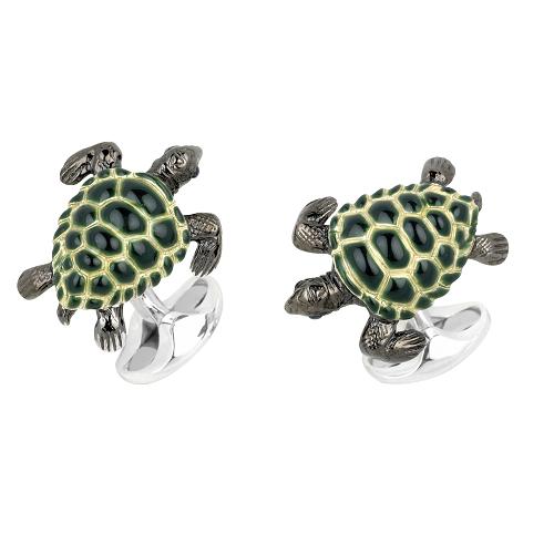 Sterling Silver Green Turtle Cufflinks
