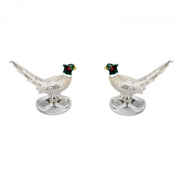 Sterling Silver Pheasant Cufflinks