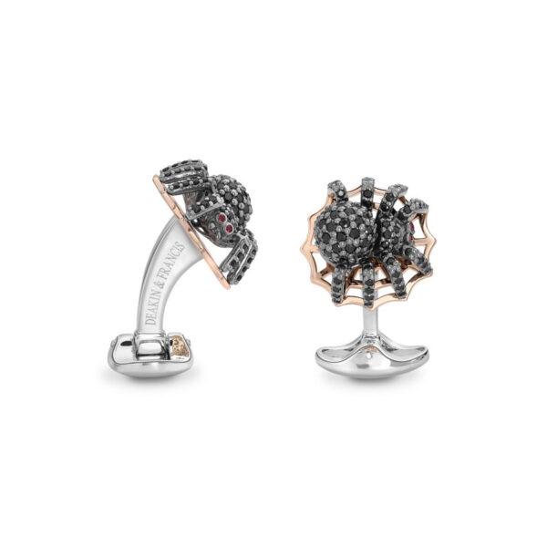 Sterling Silver Black Spinel Spider Cufflinks