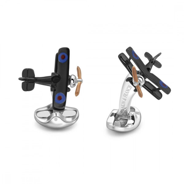 Sterling Silver Bi Plane Cufflinks with Enamelled Propeller