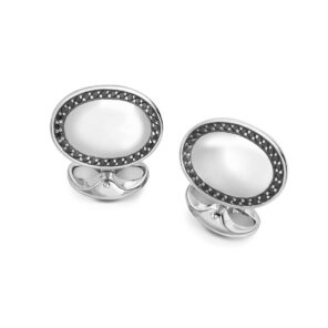 Sterling Silver Black Spinel Oval Cufflinks