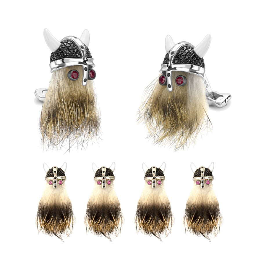 Hairy Viking Skull with Black Spinel Helmet and Ruby Eye Dress Set