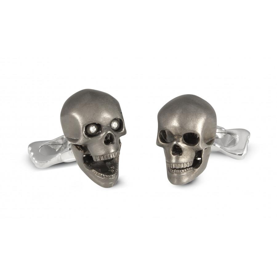 Sterling Silver Grey Skull Cufflinks with Diamond Eyes