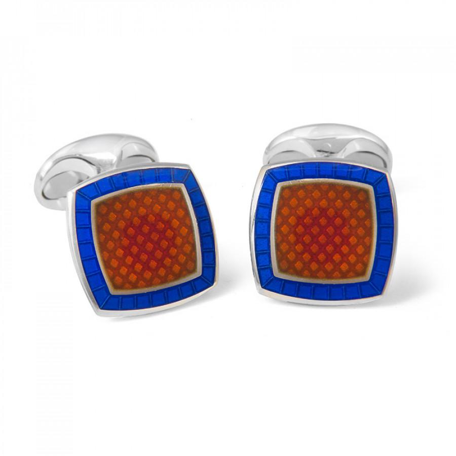 Sterling Silver Orange Enamel Cufflinks with Royal Blue Border