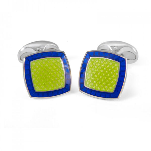 Sterling Silver Lime Green Enamel Cufflinks with Nitric Blue Border