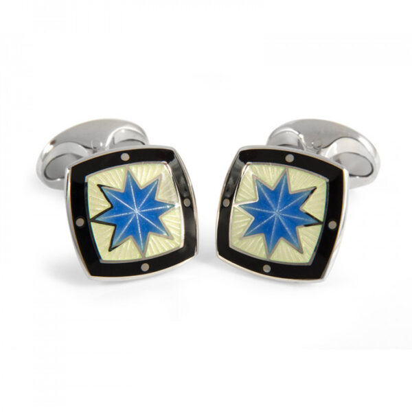 Sterling Silver Fancy Blue Star Enamel Cufflinks