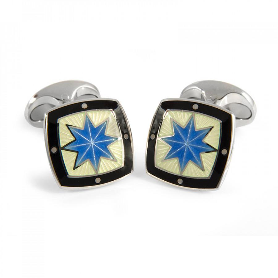 Sterling Silver Fancy Blue Star Enamel Cufflinks