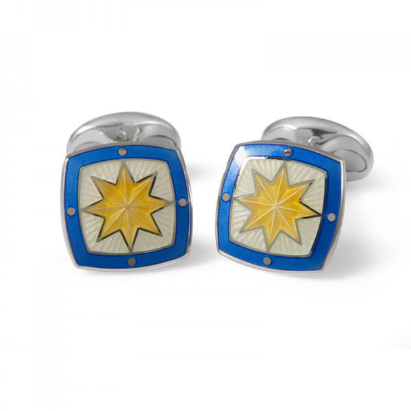 Sterling Silver Fancy Yellow Star Enamel Cufflinks