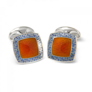 Sterling Silver Orange Enamel Cufflinks with Purple Patterened Border