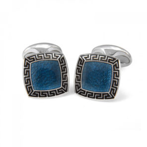 Sterling Silver Blue Enamel Cufflinks with Black Patterned Border