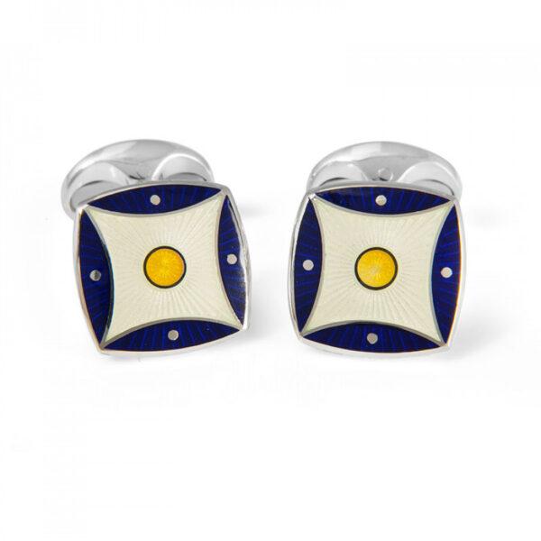 Sterling Silver Navy Blue & Yellow Pattern Enamel Cufflinks
