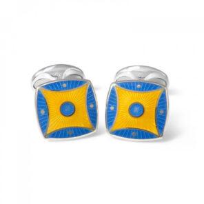 Sterling Silver Sky Blue & Bright Yellow Pattern Enamel Cufflinks