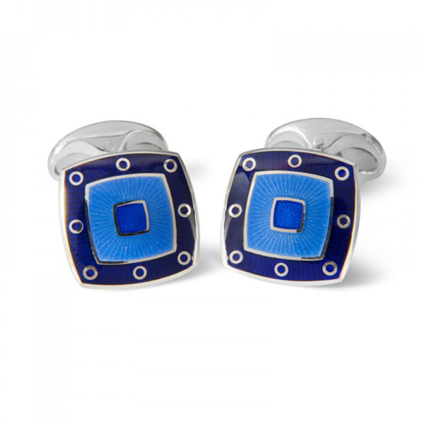 Sterling Silver Blue Enamel Cufflinks with Spot Border