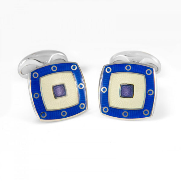 Sterling Silver Clear Enamel Cufflinks With Blue Spot Border