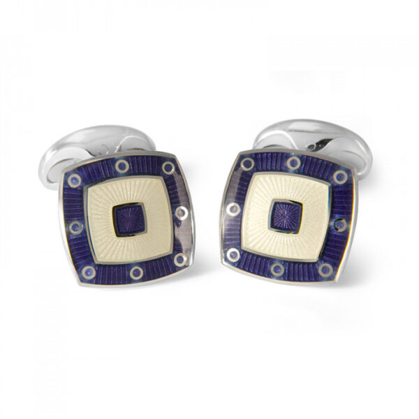 Sterling Silver Clear Enamel Cufflinks with Purple Spot Border