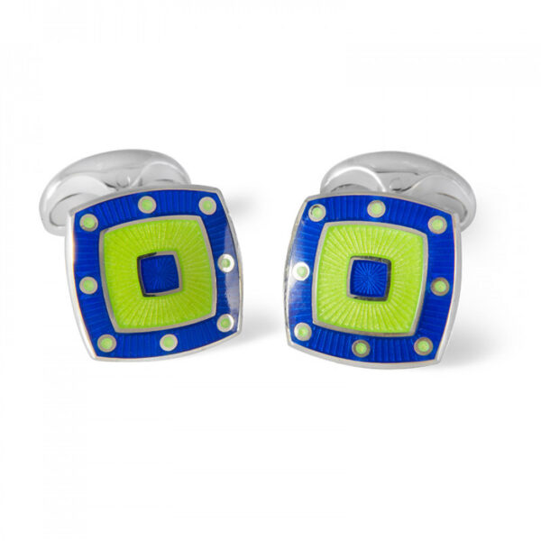 Sterling Silver Green Enamel Cufflinks with Blue Spot Border