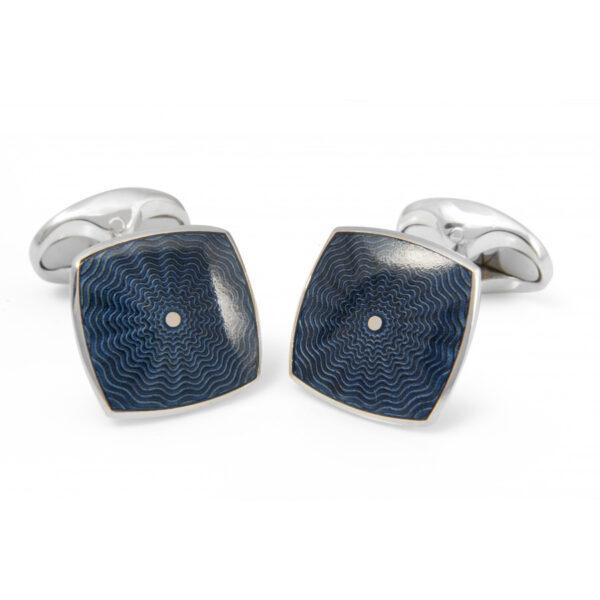 Sterling Silver Deep Blue Enamel Cufflinks