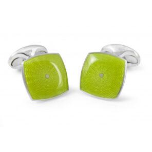 Sterling Silver Lime Green Enamel Cufflinks