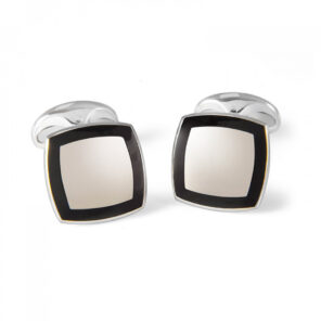 Sterling Silver Cufflinks with Black Enamel Border