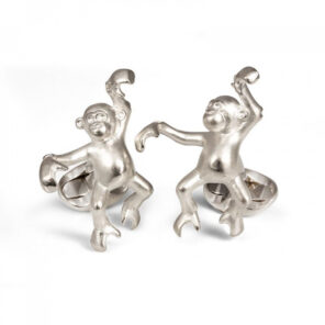 Sterling Silver 'James' Dancing Monkey Cufflinks