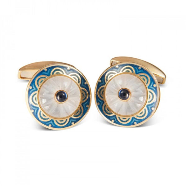 18ct Yellow Gold Round Cufflinks with Blue Border & Crystal and Sapphire Centre