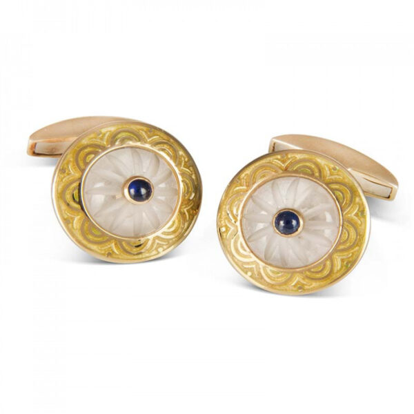 18ct Yellow Gold Round Cufflinks with Gold Enamel Border & Crystal and Sapphire Centre