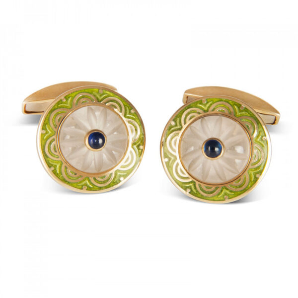 18ct Yellow Gold Round Cufflinks with Lime Green Border & Crystal and Sapphire Centre