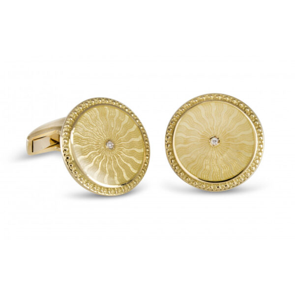18ct Yellow Gold Round Cufflinks with Clear Enamel & Diamond Centre